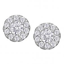 Diamond Framed Stud Earrings in 10K White Gold (0.072 CT. T.W.)