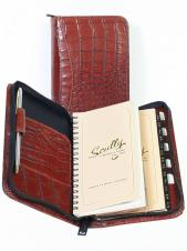 Croco Leather 3 Way Zipper Pocket Weekly Planner w/ Telephone Address Book