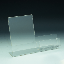 Slanted Sign Holder with pocket - w/ Business Card Pocket 3,5 W - 4 W x 6 H - Clear durable acrylic