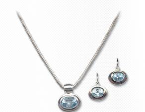 Sterling Silver and Blue Topaz Earring and Necklace Set