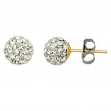 10kt 6.8mm Ball Clear Crystal Earrings With Stainless Steel Earring Backs