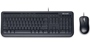 Microsoft Wired Desktop 600 Combo SPILL-RESISTANT English Keyboard & Optical Mouse USB - Brown Box