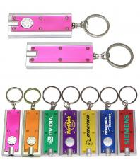 Slim Rectangular Flashlight with Swivel Key Chain (Translucent Pink)