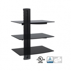 Support Audio/Video - Support murale audio/vidéo - 3 tablettes en verres - 8 kg max.