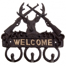 Timber - Iron Welcome sign with 3 hooks