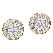 Diamond Framed Stud Earrings in 14K Yellow Gold (0.128 CT. T.W.)