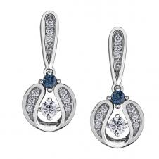 Diamond Drop Earrings in 10K White Gold with Sapphire Accent (0.121 CT. T.W