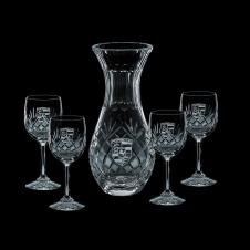 30 Oz. Medallion Crystal Carafe & 4 Wine Glasses