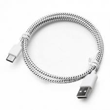 Cellulaire cable - Fil USB type C - Style corde tressée - 3' - Blanc