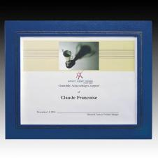 Blue Cornell Leatherette Certificate Frame