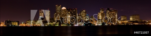 View ofthe skyline of Boston Massachusetts at night.