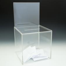 Boîte concours/vote - avec en-tête - 8 W x 15 H x 8 D - Claire