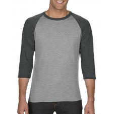 ANVIL - 6755 - T-Shirt - T-Shirt Triblend à Manches Raglan 3/4 - 50/25/25 - Gris Cendré/Gris Foncé Cendré - Medium
