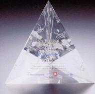 Custom Lucite 3 Sided Pyramid Award