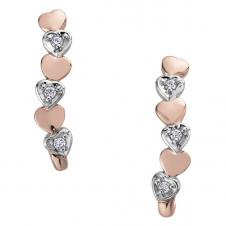 10K White and Rose Gold Heart Shaped Drop Earrings with Diamonds (0.06 CT.
