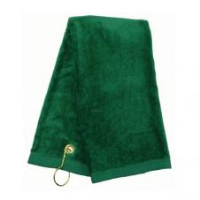 100 percent Cotton Velour Tri Fold Golf Towel with Brass Grommet and Hook 16X22