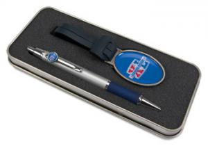 Pen and Bag Tag Set - Domed full color insert and tin box