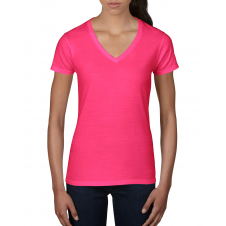 ANVIL - 88VL - T-Shirt Col en V Léger pour femme - 7.5 oz - Rose Vif - Small