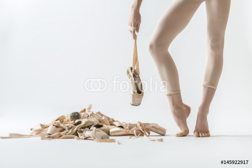 Ballet dancer legs and pointe shoes