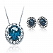 Swarovski Blue and White Crystal Pendant and Earrings Gift Set