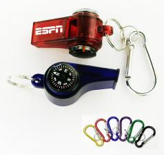 Whistle with Compass Thermometer and Split Ring and Carabiner