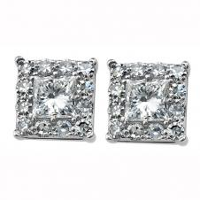 Princess Cut Diamond Framed Stud Earrings in 10K White Gold (0.26 CT. T.W.)