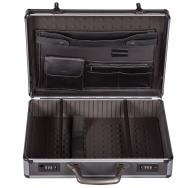 Gunmetal Metal Finish Attaché Case w/ Aluminum Contrast Details (18x13x5)