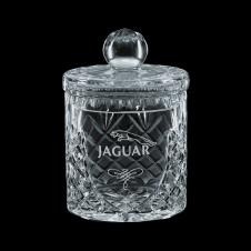 12 Oz. Small Medallion Crystal Barrel Jar & Lid