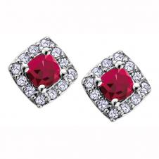 3mm Cushion Cut Ruby and Diamond Frame Stud Earrings in 10K White Gold (0.1