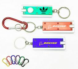 Slim Rectangular Flash Light with Colorful Light and Carabiner