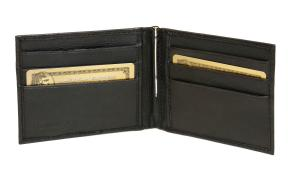 Lambskin Bi Fold Wallet & Money Clip - Midnight Black