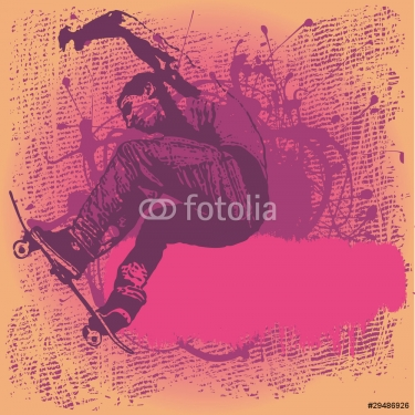 background with boy jumping on a skateboard
