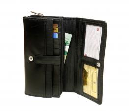 Lambskin Napa Ladies Organizer/ Checkbook Wallet - Midnight Black