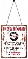 TIMBER - TIN SIGN, RULES OF THE GARAGE, 20X25CM