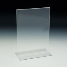 Support d'affiches de comptoir - Style en T - 11 L x 8,5 H - Acrylique durable claire