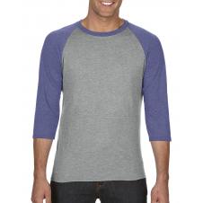 ANVIL - 6755 - T-Shirt - T-Shirt Triblend à Manches Raglan 3/4 - 50/25/25 - Gris Cendré/Bleu Cendré - Large