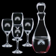 33 Oz. Carberry Decanter with 4 Wine Glasses