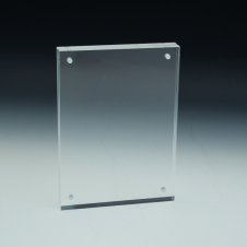 Slanted Sign Holder - Premium - Panels Snap Magnets - 4 W x 6 H - Clear durable acrylic