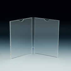 Counter Sign Holder - Multi-sided - Book Style - 2X (4 W x 6 H) - Clear durable acrylic