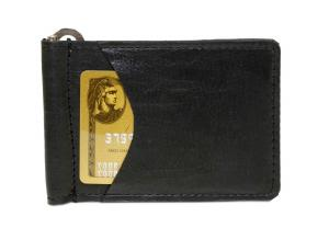 Money Clip Wallet w/ 2 Outside Pockets - Black Midnight