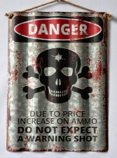 TIMBER - TIN SIGN, DANGER, CORRUGATED, 30X40CM