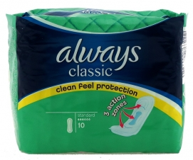 ALWAYS CLASSIC STANDARD CLEAN FEEL - PACK OF 10