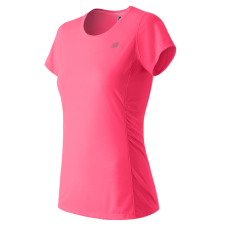NEW BALANCE - WT53817 - T-SHIRT TECHNIQUE 5 KM POUR FEMME - 91% Polyester/9% Spandex - Rose - Medium