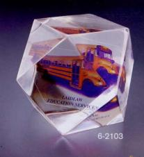 2x2x2 Acrylic Faceted Cube Paper Weight Award
