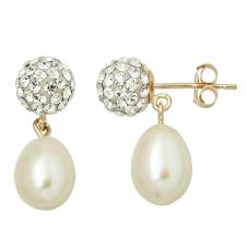 10kt Gold 6.8 Crystal Drop With 7mm Pearl Drop Post With 10kt Gold Post.