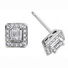 Emerald Cut Diamond Framed Stud Earrings in 14K White Gold (0.41 CT. T.W.)