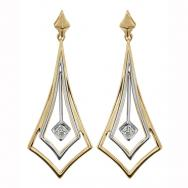 10K White and Yellow Gold Drop Earrings with Diamonds (0.10 CT. T.W.)