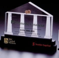 Custom House Shape Lucite Award w/ Black Tiered Base