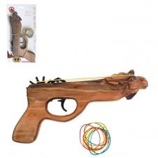 Olympia Cubs - Pistolet en bois à rubans en caoutchouc - Face dignal