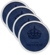 Silver Plated Coaster Set w/Avalon Leather Insert